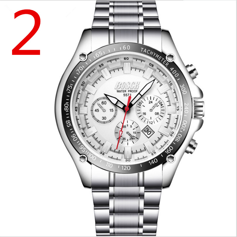 Mens Watches Top Brand Luxury Sport Quartz Watch Men Business Stainless Steel Silicone Waterproof Wristwatch 1