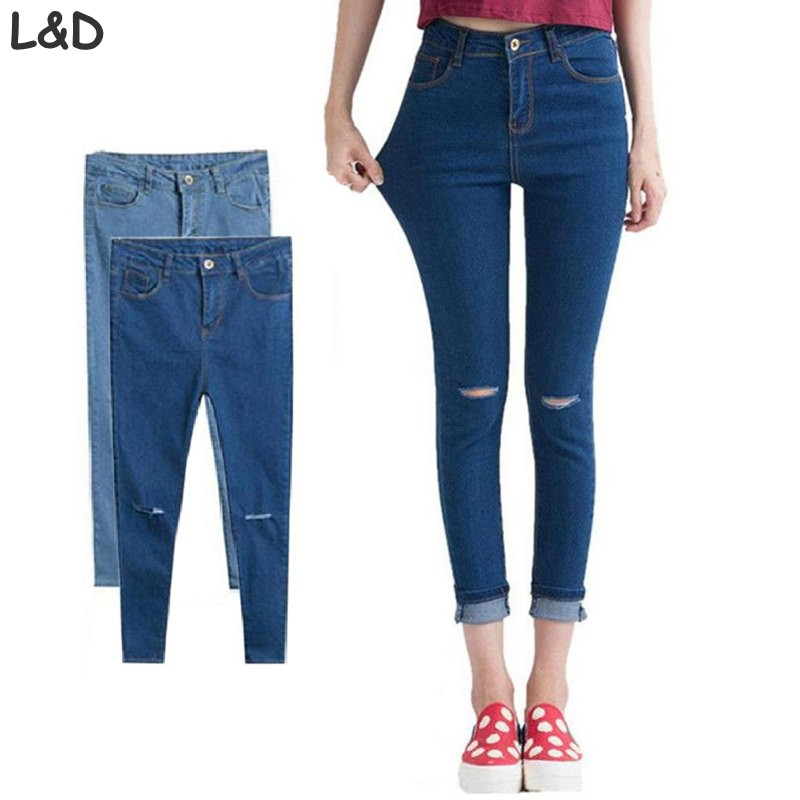 2017 Women Ripped Jeans Female Skinny Slim Hole Fashion Casual Brand Pencil Slim Denim Pants Trousers Pantalon Femmes