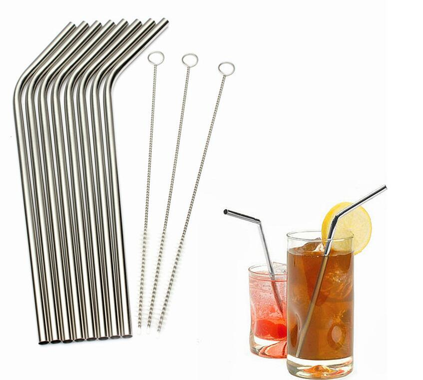 1000pcs HIGH QUALITY 21 5cm Slim Straight Bent Curved Stainless Steel Straw Drinking Straws 8 5