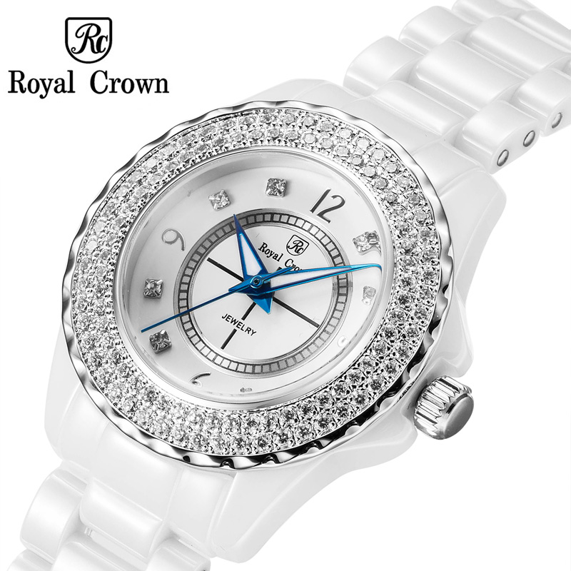 Luxury Claw-setting Crystal Ceramic Men's Watch Women's Watch Fine Fashion Couple's Hours Bracelet Girl's Gift Royal Crown Box claw setting men s watch women s watch sapphire crystal fine clock stainless steel bracelet luxury lovers gift royal crown box