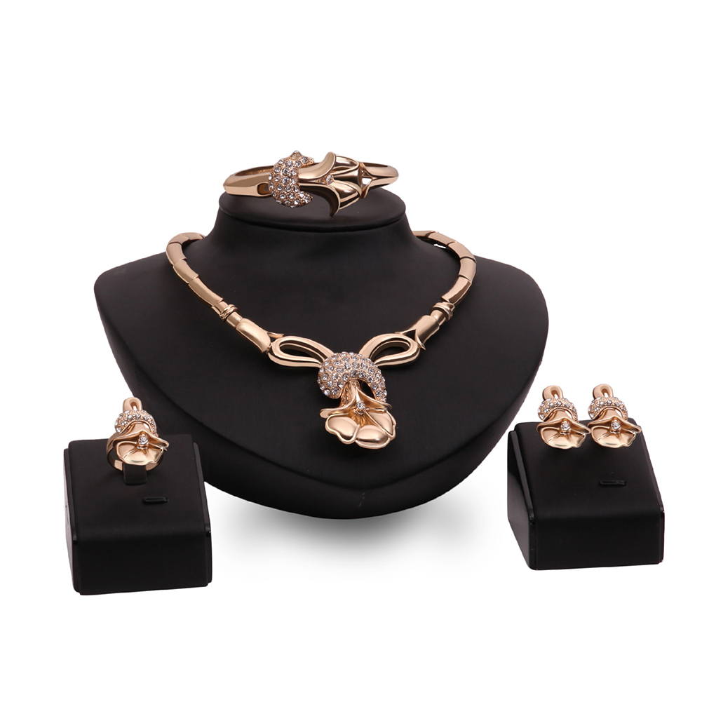 Cindiry Unique Elegant Vintage Rhinestone Ring Bracelet Necklace Earring Sets For Women Wedding Jewellery Gift parure bijoux T40