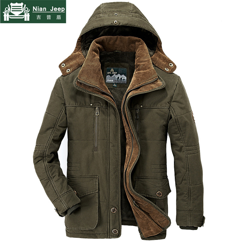 AFS JEEP Brand Thick Winter   Parkas   Men Plus Size 5XL 6XL Cotton Warm Jacket men Military Multi-Pocket   Parkas   Hombre Invierno