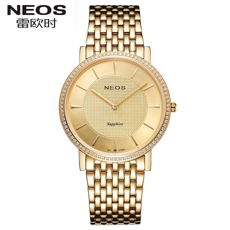NEOS Fashion Flash Diamonds Luxury Waterproof Couple Watch Two Needle Ultra - thin Style Men's watches Women's watches Hot sale