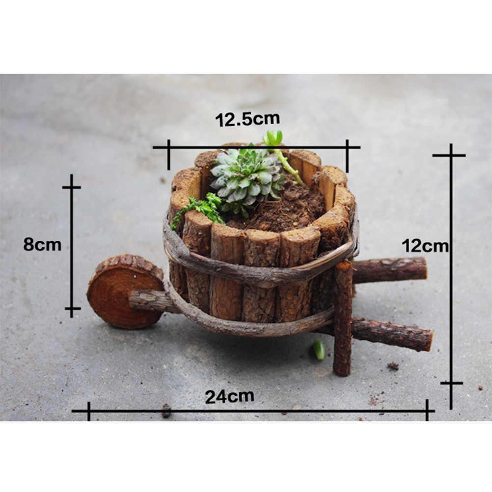 Gerobak Kayu Pot Bunga Kreatif Berdaging Kombinasi Pot Tanaman Toko Dekorasi Taman Hias Buatan Bunga Planter