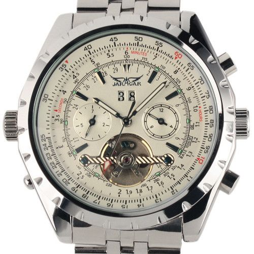 Reloj Hombre font b JARAGAR b font Fashion Watch Mens Day Flywheel Auto Mechanical Stell Wristwatch