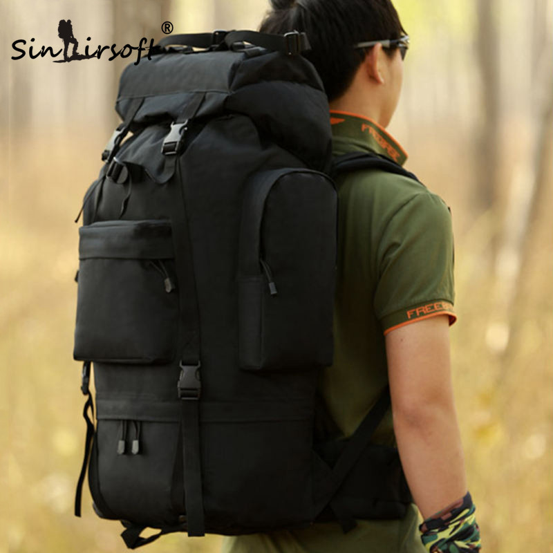 SINAIRSOFT Men Military Backpack Waterproof Nylon Large Molle Bag Multi-function Camouflage Pack 65L Rucksack Tactical Bag 65l tactical metal bracket bag 2018 men camouflage backpack multi function waterproof nylon bags