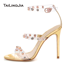 2019 Big Size Ladies Summer Sexy Party Dress Heels Crystal Studs Strappy Heeled Transparent Shoes Woman High Heel Clear Sandals clear panel two part heeled sandals
