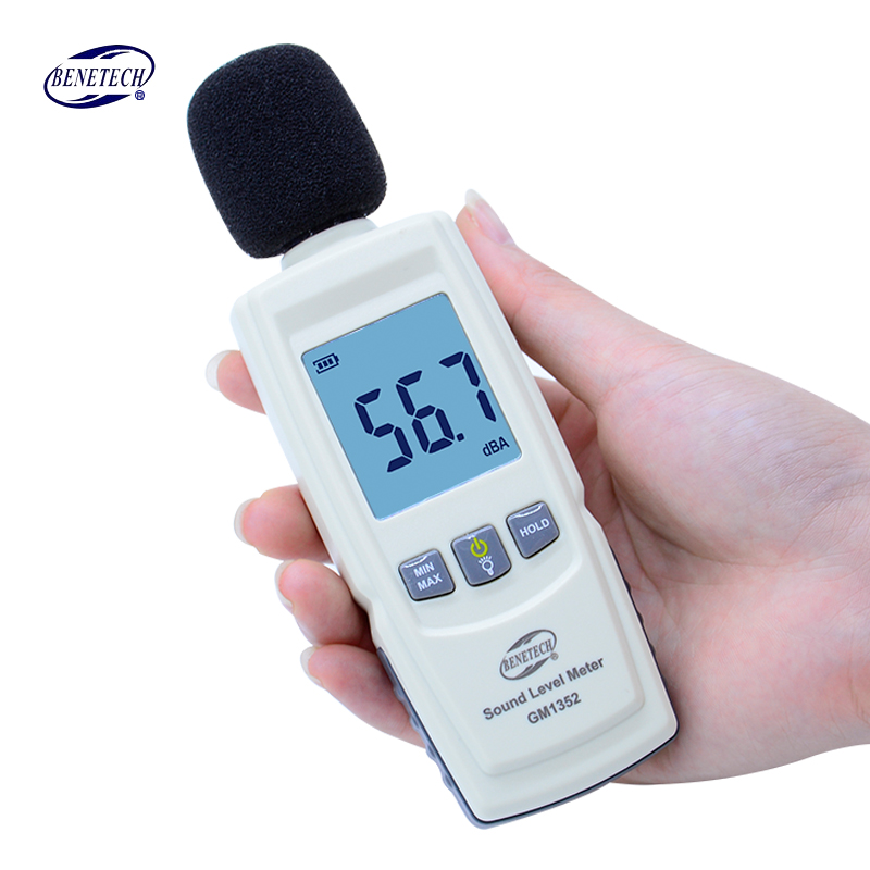 GM1352 Digital sound level meter noise tester 30-130dB in decibels LCD screen With backlight Accuracy up to 1.5dB Hot sale with carry box benetech gm1357 30 130db digital sound level meter noise tester in decibels lcd a c fast slow db screen