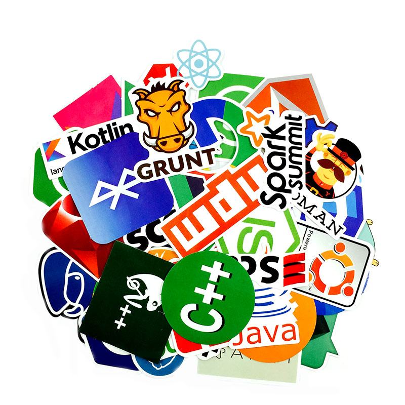 50Pcs lot Internet Java JS Php Html Cloud Docker Bitcoin Programming Language APP Logo Cool Stickers for Laptop Car DIY Stickers in Stickers from Toys Hobbies