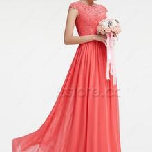 Cecelle 2016 Coral Modest Chiffon Lace Bridesmaid Dresses Ca