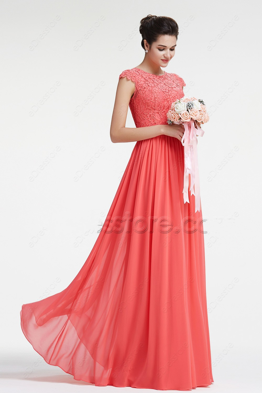 Coral Modest Chiffon Lace Bridesmaid Dresses Cap Sleeves Long  A-line Floor Length Wedding Guests Dresses Cheap
