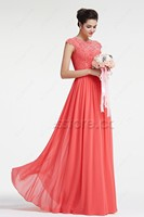 Coral Modest Chiffon Lace Bridesmaid Dresses Cap Sleeves Long A line Floor Length Wedding Guests Dresses Cheap