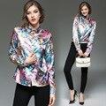 YMOJNV женские Рубашки 2017 Новая Весна Моды Личности Печать Высокого QualityTemperament Тонкий Нагрудные С Длинным Рукавом Плюс Размер Рубашки