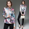 YMOJNV Women's Shirt 2017 New Spring Fashion Personality Printing High QualityTemperament Slim Lapel Long Sleeve Plus Size Shirt