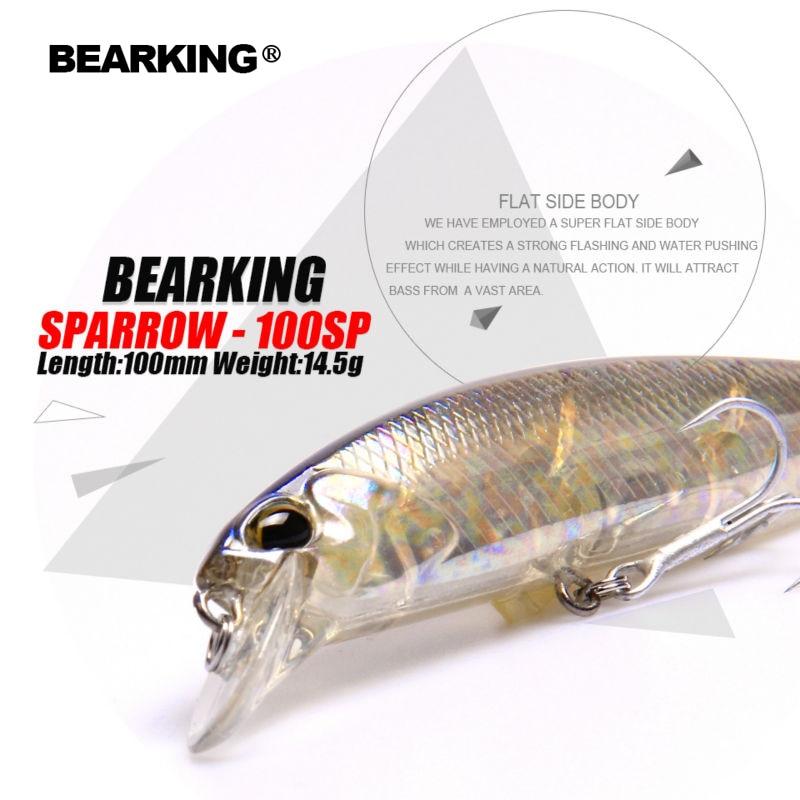 Bearking + Лидер продаж 2017 года модель прикормы жесткие приманки 7 видов цветов для выбора 10 см 15 г Гольян, качество Профессиональный гольян depth0.8-1.5 м