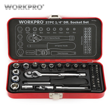 WORKPRO 37PC 1/4 Sokcet Set Tool Set Home Repair Tools Metal Box Ratchet Torque Wrench