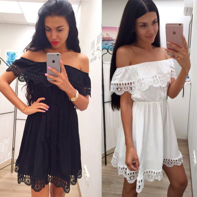 2017 г. летние модные женские Белый Черный Кружевное платье повседневные свободные пляжные платья сексуальная Slash шеи с открытыми плечами платье vestidos
