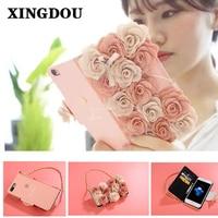 Xingduo lusso del fiore della rosa cinghia della scheda di vibrazione del raccoglitore del cinturino dell'orologio borsa di cuoio case cover per apple iphone 7/7 plus/6/6 s/6 splus/5 s/se