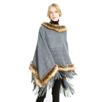 Fashion New Autumn And Winter Women Faux Fur Collar Scarves Women Tassel Knitted Shawl Cape Poncho Scarf Pullovers Warmers