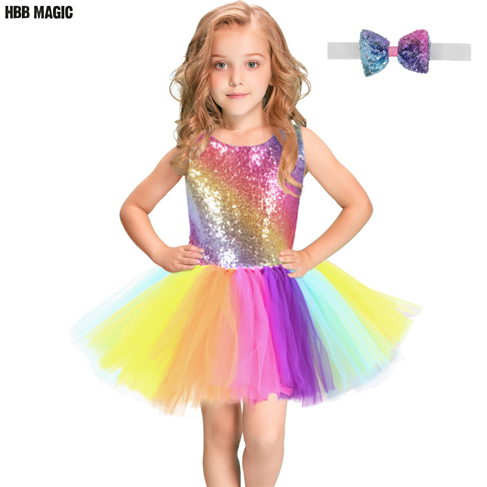 Rainbow Sequins Tutu Dress for Kids Fashion Backless Sleeveless Tulle Dress Girls Clothes Colorful Children Girl Party Dress 2-8(China)