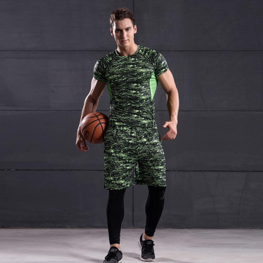 Winter Fashion Man Workout Leggings Compression Tight Pants+Shirt 2 Piece Set Suit Solid Color Hot sales pantalon hom #AA