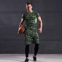 Winter Fashion Man Workout Leggings Compression Tight Pants Shirt 2 Piece Set Suit Solid Color Hot