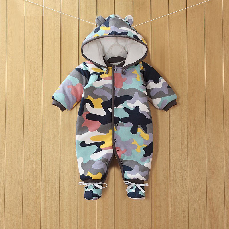2019 Nowe ubrania dla dzieci Odpinany Bawełna Jednoczęściowy Gruby z kapturem Ciepłe zimowe ubrania dla niemowląt Romper dziecięcy w stylu zwierzęcym