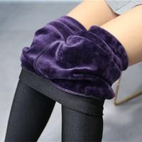 High Quality Winter Warm Women Leggings Plus Thick Velvet Solid Color High Waist Pants Legins Femme
