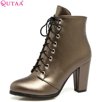 QUTAA 2020 Women Ankleboots Pu Leather Fashion Square High Heel All Match Silver  Lace Up Pointed Toe Boots Size 34-43 - discount item  47% OFF Women's Shoes