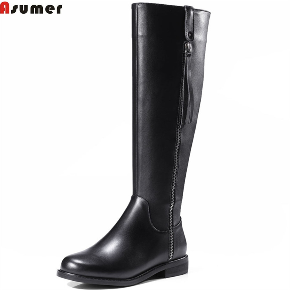 ASUMER big size 33-42 fashion women boots round toe zipper genuine leather +PU boots low heel simple black knee high boots alfani new black women s size small s mesh back high low ribbed blouse $59 259