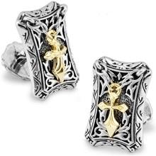 SPARTA Hércules de Oro Blanco de Electrochapado cruz mancuernas de los hombres Gemelos + Envío Libre!!! botones de metal