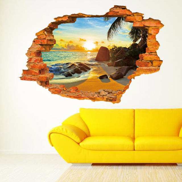 3D sunshine beach wall stickers guest room self adhesive removable ...