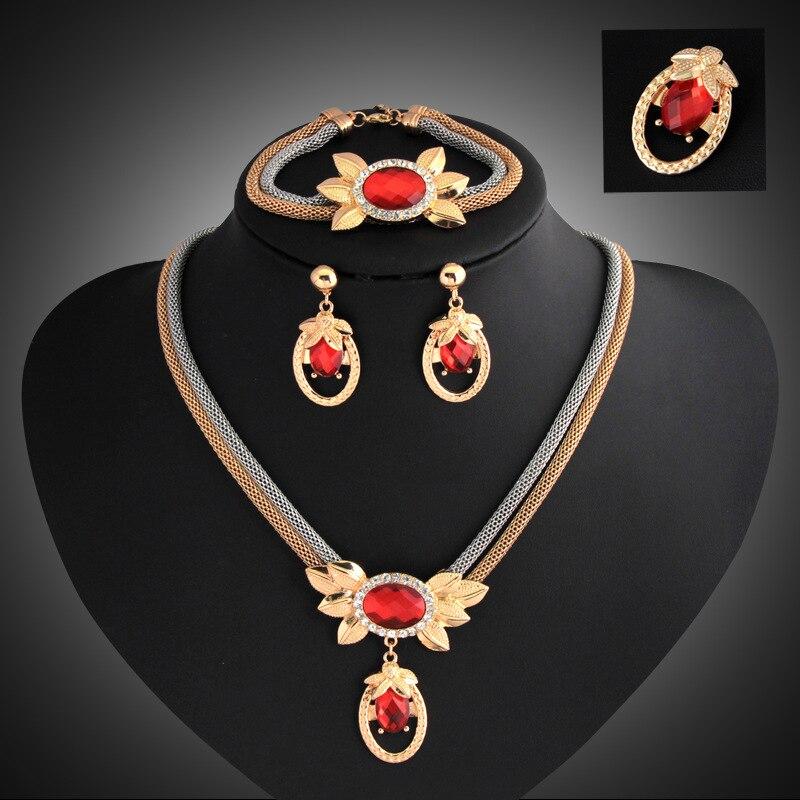 Dámské módní sady šperků límec zlato stříbrná dvojité řetízkové křišťálové náhrdelníky náušnice náramek brož dámské kostýmní doplňky