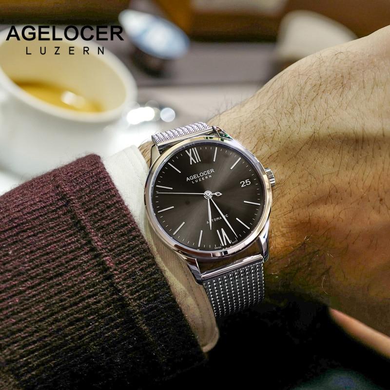 relogio masculino AGELOCER Watch Men Military Mechanical Watch Mens Watches Top Brand Luxury Mesh Sports Wristwatch Date Clock цена