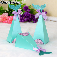 OurWarm 50pcs Little Mermaid Candy Boxes Gift Box Bags Under the Sea Party Decor Kids Birthday Supplies