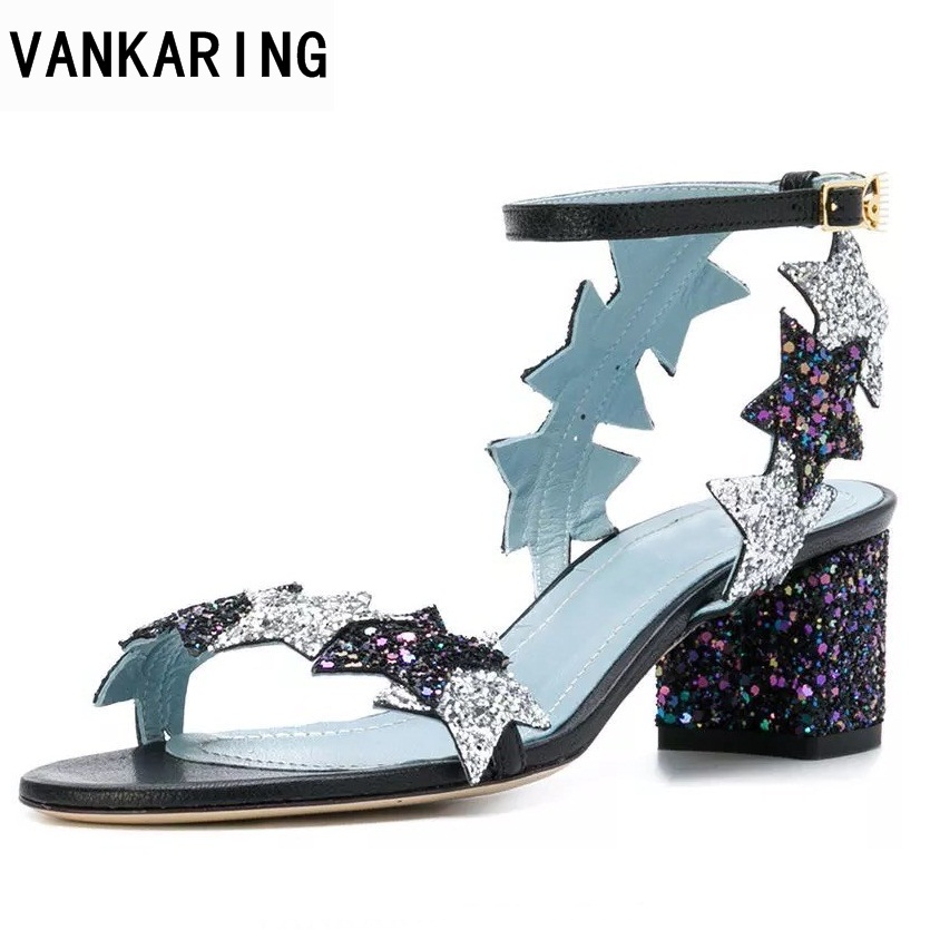 VANKARING women sandals new 2018 summer fashion high heels open toe shoes woman dress party casual shoes gladiator snadals woman 2018 new summer shoes woman high heels