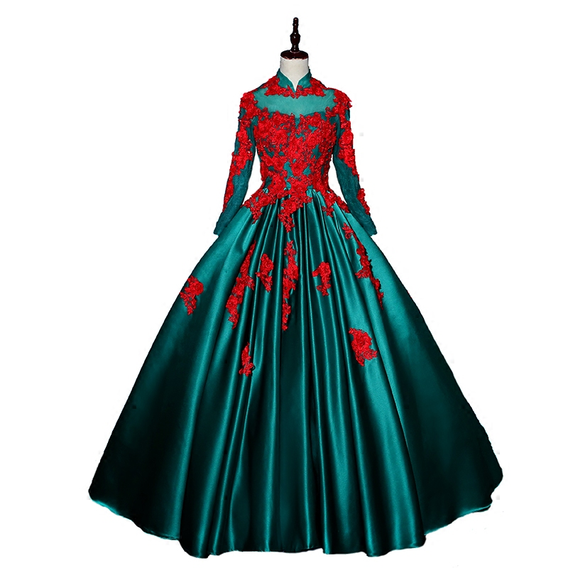 Cartoon Dressing Gown: Green And Red Embroidery Cartoon Cosplay Ball Gown