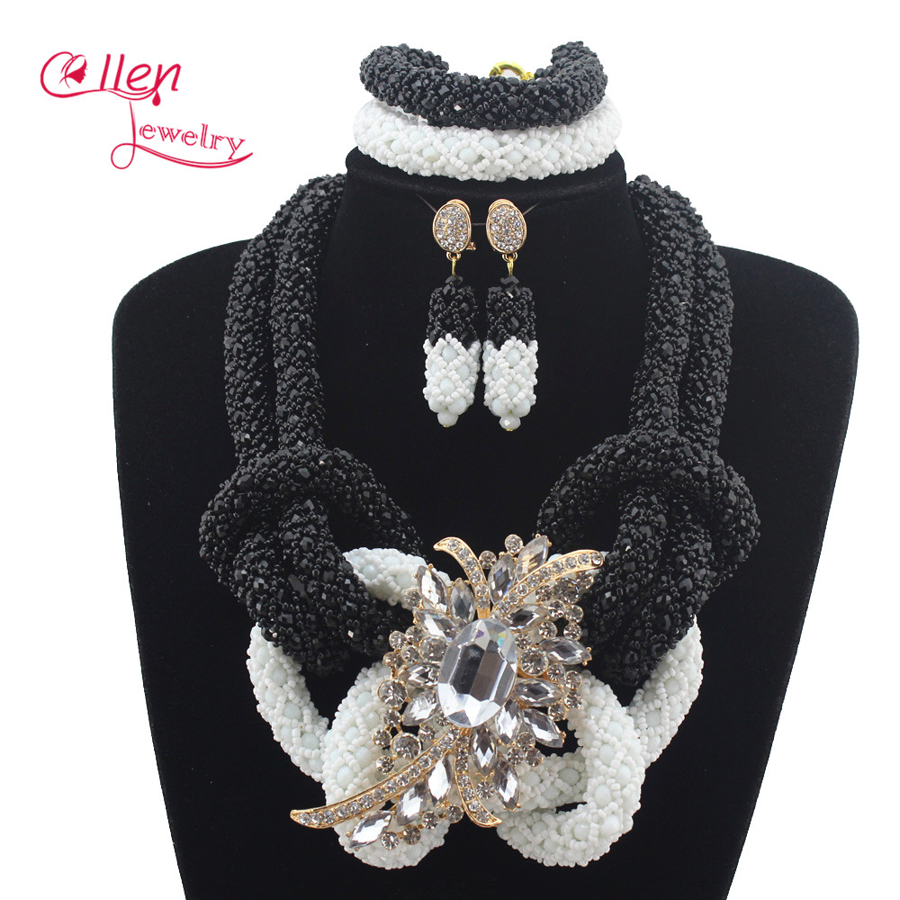 2019 Luxury White/Black Nigerian Wedding beads African Beads Jewelry Set Chunky Women Bridal Jewelry Set Free Shipping E11152019 Luxury White/Black Nigerian Wedding beads African Beads Jewelry Set Chunky Women Bridal Jewelry Set Free Shipping E1115