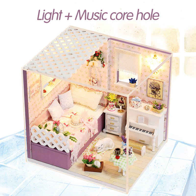 Doll House Furniture Diy Miniature Dust Cover 3d Wooden Miniaturas Dollhouse Large Toys For Christmas Gift For Children Promote The Production Of Body Fluid And Saliva Architecture/diy House/mininatures