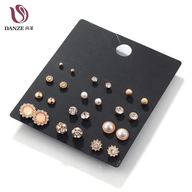 12Pairs/pack White Crystal & Simulated Pearl Stud Earrings Set Women Small Rose Gold Color Ear Studs Vintage Accessories Jewelry