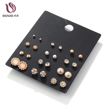 ФОТО 12pairs/pack white crystal & simulated pearl stud earrings set women small rose gold color ear studs vintage accessories jewelry