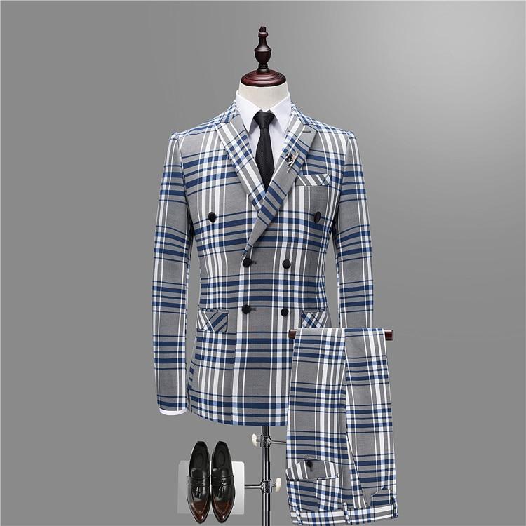 2018 quatre saisons hommes costumes, haute qualité marque Plaid costume, haut de gamme luxe hommes Performance costume ensembles hommes M-3XL