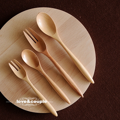Fashion Sweet couple dinnerware set Japanese style Brief Wooden Dinnerware Set Salad Spoon Fork Lovers Set & Fashion Sweet couple dinnerware set Japanese style Brief Wooden ...