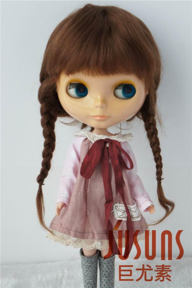 JD018 10 11 inch mohair wigs Pretty Ana two braid BJD Doll wig fashion doll hair
