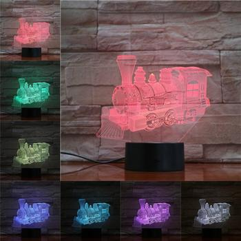 Novelty Led Night Light Steam Train Locomotive 3D Lamp Lighting LED Bulb Home Decor Bedside Flashlight Nightlight Gifts for Kids 3d led night light usb 3d luminous novelty lighting base table lamp home decor valentine s birthday christmas gifts