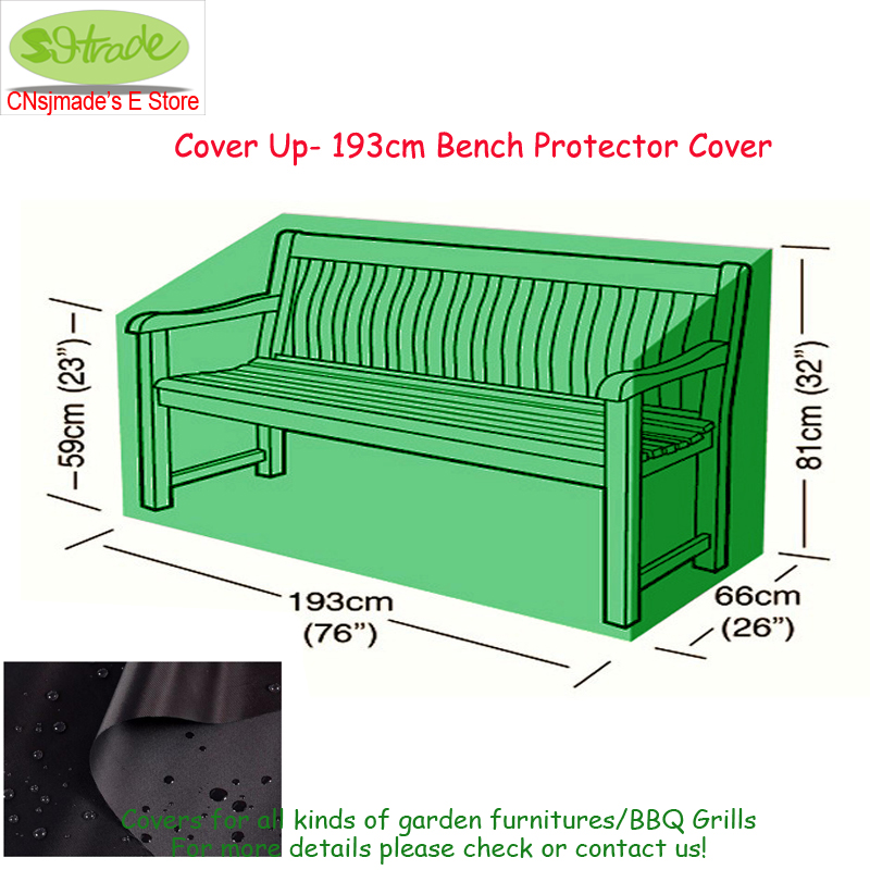 Cover up-193cm bench protector cover, outdoor chair cover, 193x66x59/81cm,Black, Oxford fabric, customized available