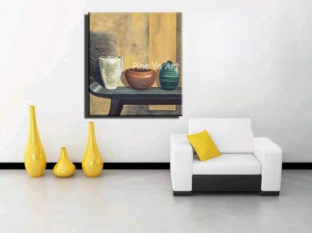Abstracte moderne canvas muur versierd handgemaakte pot klei