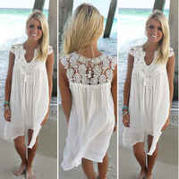 2019 Women's Bohemia Summer Elegant Dress Lace Patchwork Loose Sexy Dress Short Sleeve Chiffon White Beach Dress Women Dresses