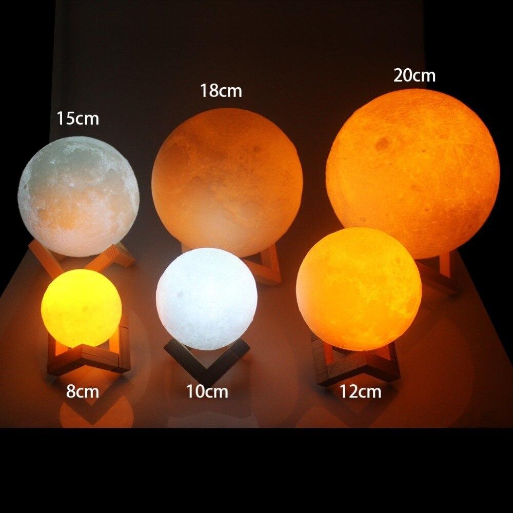 LED lune lampe USB 3D impression LED Veilleuse clair de lune capteur tactile enfants cadeau Nachtlampje Veilleuse 8/10/12/14/15/18/20 CM
