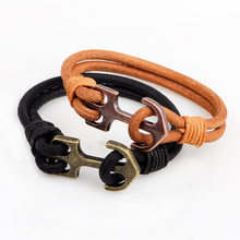 Fashion korean style bracelet Anchor alloy bracelet 2 layer charming leather wiring bracelet women men lederen armband sieraden(China)
